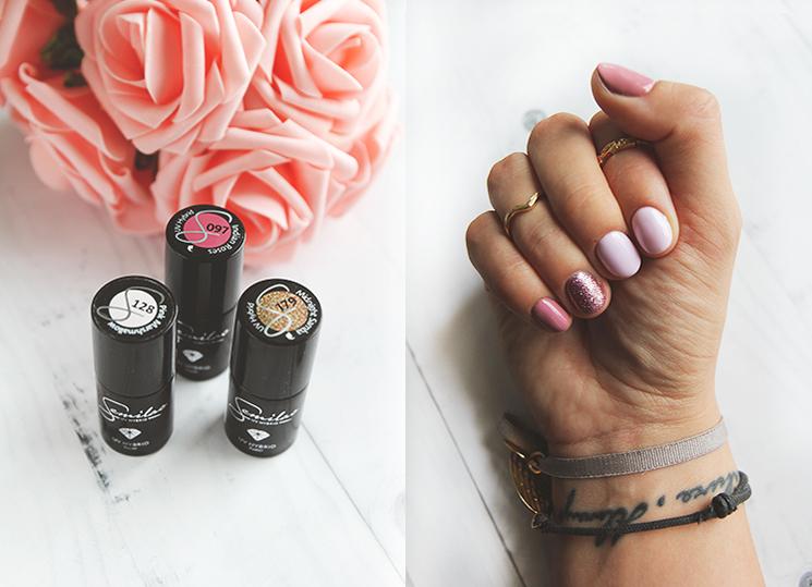 Manicure hybrydowy Semilac 097 Indian Roses, 128 Pink Marshmallow, 179 Midnight Samba
