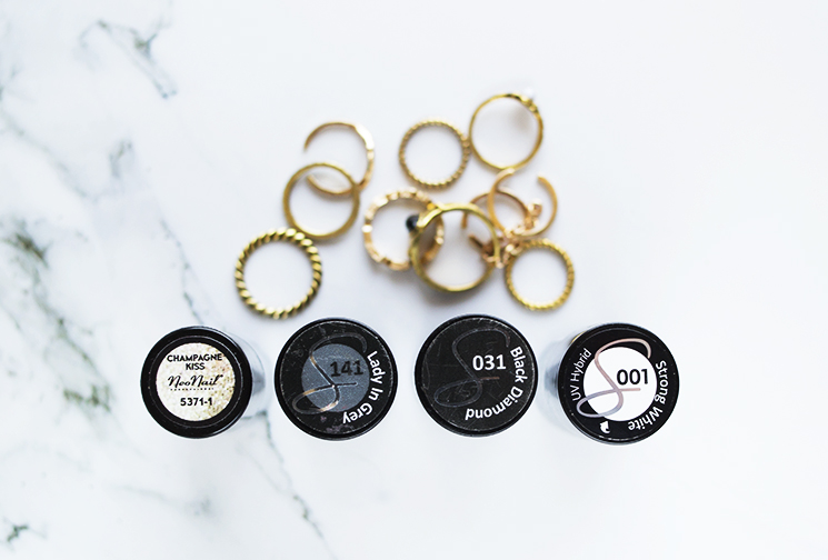 SEMILAC 001 STRONG WHITE, 031 BLACK DIAMOND, NEONAIL CHAMPAGNE KISS